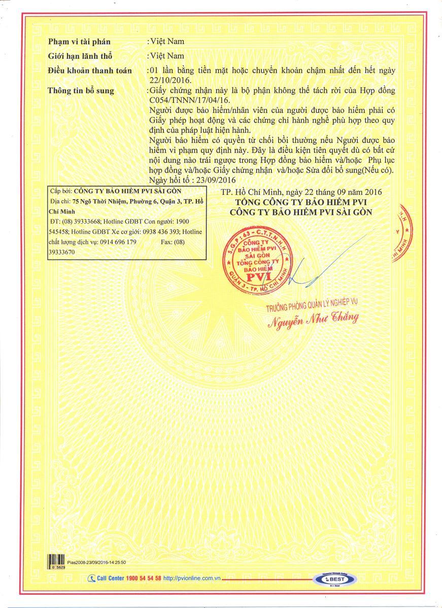 giấy chứng nhận bảo hiểm ms