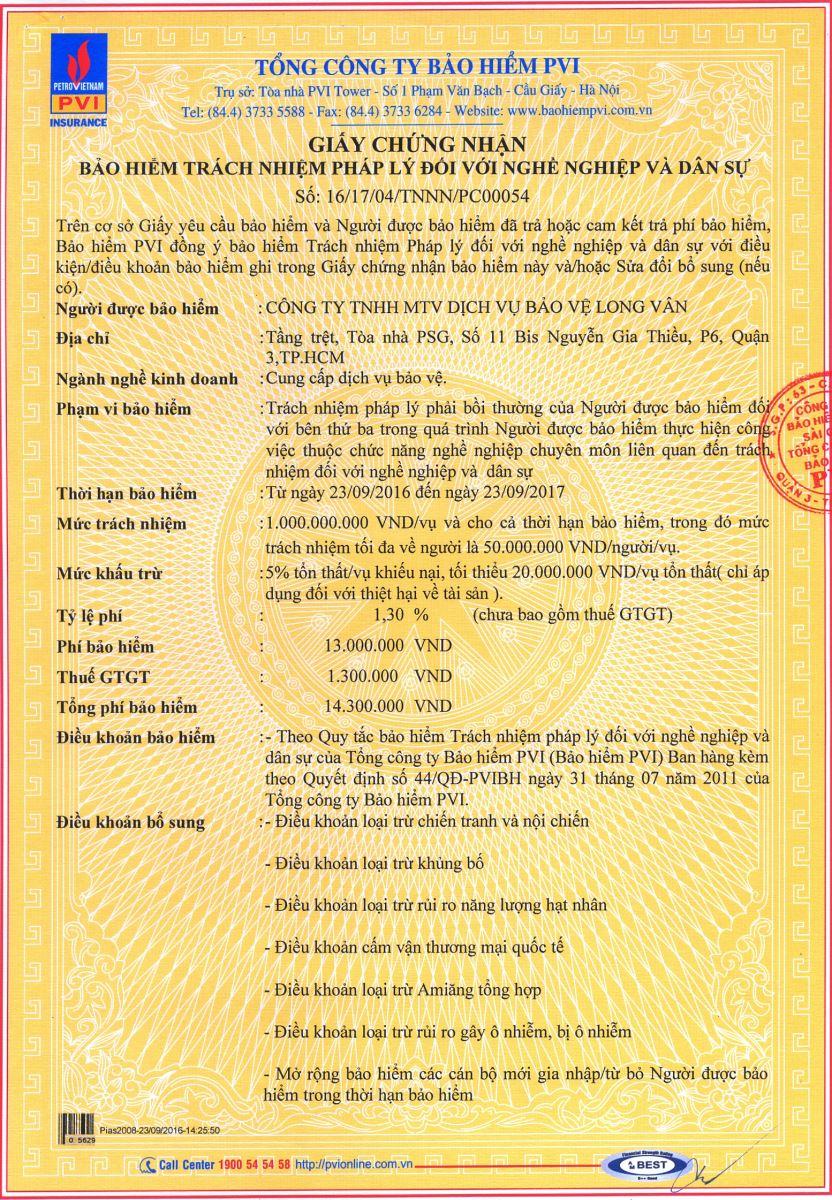giấy chứng nhận bảo hiểm mt