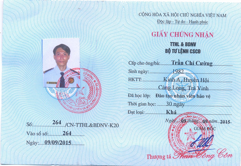 giấy chứng nhận nghiệp vụ